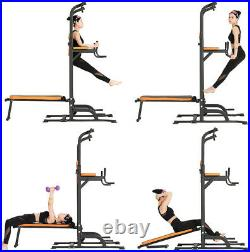Height Adjustable Power Tower with Bench Pull Up Bar Dip Station Fitness Equipment