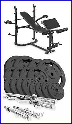 Home Exercise Bench With Prayer Book + SET 119 kg Iron Weights Plates and Bars