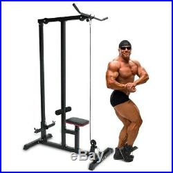 Home Gym Body Lat Pull Down Machine Low Bar Cable Fitness Training Weigh BLACK