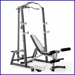 Home Gym with Lat Pull Down, Leg Developer, Bench Press, Squat Rack, Pull Up Bar