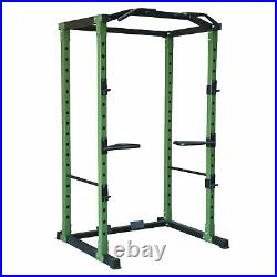 HulkFit HFPC-GR 1,000 Pound Capacity Power Cage with 2 Safety Bars and Dip Bars