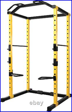 HulkFit Multi-Function Adjustable Power Cage Home Gym Workout with J-Hooks Dip Bar