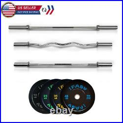 IFAST Olympic Barbell Bar Plates 4Ft/5Ft/7.2Ft Solid Iron Fitness Weightlifting