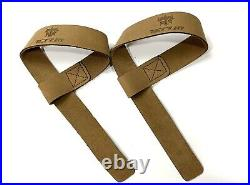 Leather Weight Lifting Straps Pair For Barbell Bar WeightLifting Wrist Strap