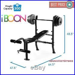 Lifting Workout Weight Bench With Weights SET Bar Press Plates 140 LB Dumbbell