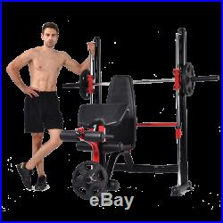 Maxam Smx-50 Smith Machine Cage Bench Home Gym Multi Stack Rack Barbell Bar