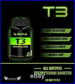 Meeka Nutrition T3 All Natural Testosterone Booster Anabolic Workout Gain Muscle