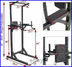 Multifunctional Power Tower Adjustable Dip Station Chin Pull Up Bar AB Training