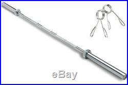 NEW 7' Foot 45lb Olympic Chrome Weightlifting Barbell Bar + Clips- Fast Shipping