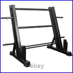 NEW! All-In-One Dumbbell Rack Board Weight Storage & Dual Vertical Bar Rack
