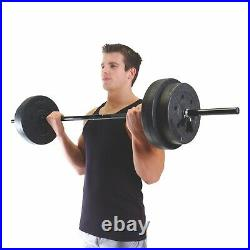 NEW CAP Barbell 100 lb Vinyl Standard Weight Set with Lifting Bar Spring Collars