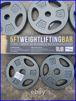 NEW CAP Weight Lifting Bar + 60 lbs CAP plates, 5 ft, 3 Pieces (4) 10lb (4) 5lb