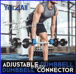 New 190 lbs Adjustable Dumbbells Set Weights, Handles, Connector Bar 200 lbs