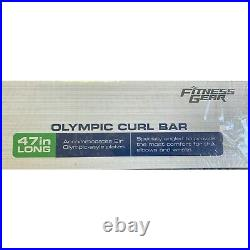 New Fitness Gear 2 Olympic EZ Curl Bar Chrome With Collars 47 15 lb FAST SHIP