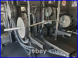 Olympic Barbell 92 Specialty CAMBERED Bar, PLUS (2) 45lb Black Bumper Plates