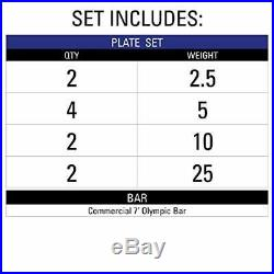 Olympic Barbell Solid Bar Weight For Home Fitness gym Weightlifting & 95 lb Set