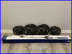 Olympic Curl Bar 47 Barbell Set with 4 x 10lb and 2 x 5lb Weight Plates (50 lbs)