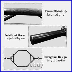 Olympic Hex Bar Foldable Barbell Trap Bar Knurled Handles 1000 Weight Capacity