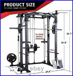 Olympic Power Cage with LAT Pull-Down Pulley System, 360 Degree Landmine, Dip Bars