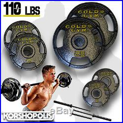Olympic Weight Plate Set & Bar 110lb Total Home Gym Exercise Fitness Equipment
