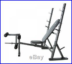 Olympic Weightlifting Incline Decline Bench with Weight Storage Press Bar Rack