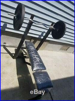 Outside ADJUSTABLE WEIGHT BENCH Rack Training Workout withbar + 2 x 50 set weights