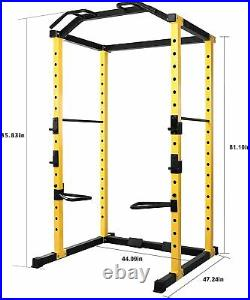 Power Cage Squat Rack Lat Pull 1000 LB Home Fitness Gym Bars Body Weightlifting
