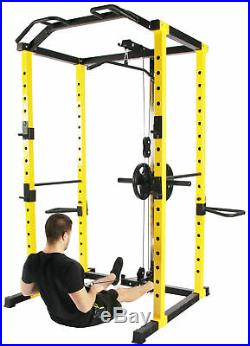 Power Cage Squat Rack Lat Pull Down 1000 lb Home Gym Dip Bars Body Weightlifting