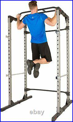 Power Cage Squat Rack PLUS Lat Pulldown Attachment, Pullup Station & Safety Bars