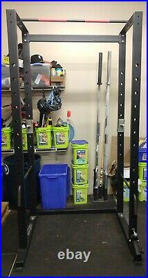 Power Rack cage 44 x 48 x 92 pullup bar landmine 1 steel rod safeties