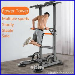 Power Tower Dip Station Adjustable Pull Up Bar Strength Training Exercise Indoor