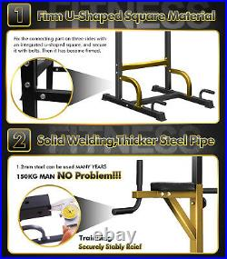 Power Tower Dip Station Chin Pull Up Bar Strength Barbell Bench Home Gym Fitness