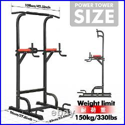 Power Tower Dip Station Chin Pull Up Bar Strength Flat Bench Home Gym Fitness US
