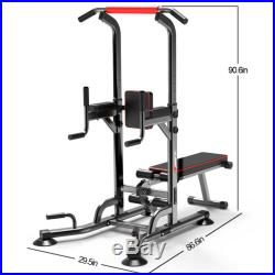 Power Tower Dip Station With Bench Bar Adjustable Pull Up Bar Station Home GYM
