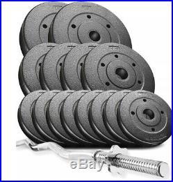 Power Trex 36kg Curl Bar Dumbbell Barbell Weights Set, Gym Barbells Pro
