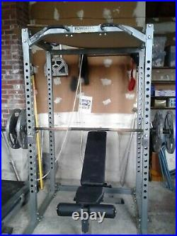 Powertec Power Rack With 360 Lbs 8x45Lb Plates and elitefts Texas Bar