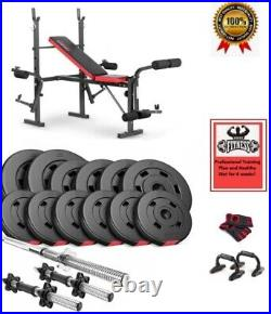 Professional Gym Training Bench + Bars, Weight Plates = Set 38 Kg + Best Gifts