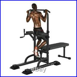 Pull Up Bar Power Tower Dip Station withSit Up Bench for Home Gym Fitness Black
