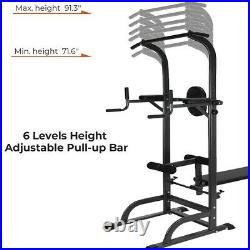 Pull Up Bar Power Tower Dip Station withWeight Bench for Indoor Home Gym Fitness