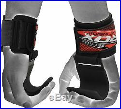 RDX Power Weight Lifting Training Gym Straps Hook bar Wrist Support Lift Gloves