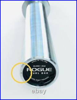 ROGUE Fitness 30 LB Curl Bar Black E-Coat Shaft with Zinc Sleeves USED