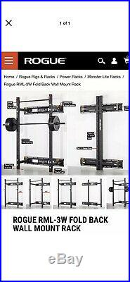 Rogue fitness Fold Back Wall Mount Squat Power Rack RML-3W Black With Pull-up Bar