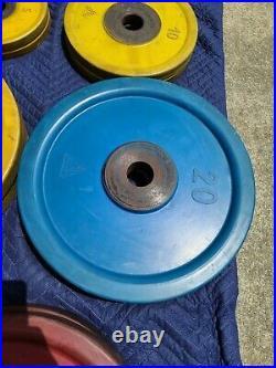 Russian KG Bumper Plates & Barbells. Vintage Set, plates, bar, collars