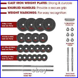 STOZM Dumbbell Set with Case 110lbs Versatile Pain Coated Set with Bar Options