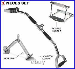 Tricep Bar Pull Down Press Cable Attachment Home Gym Exercise Equipment Lat Set