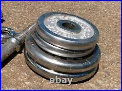VTG WEIDER Dumbbells Chrome Bars w Screw Cap & 2 (5)lb & 2 (3) lb Cast Plate Lot