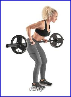Weider 7' Foot Olympic Barbell with Clips 3 Piece Black Bar For 2 Weight Plates