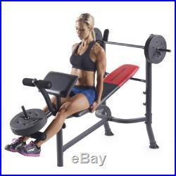 Weight Bench Home Gym W Weights Set 120 Lb Bar Press Dumbell Set lifting Workout