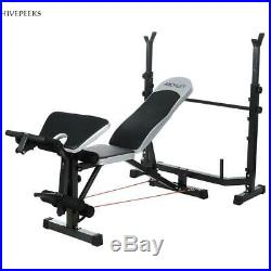 Weight Bench Set CAP Barbell Deluxe & 100Lb Weights Lifting Bar Press No Barbell