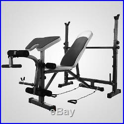 Weight Bench Set Home Gym Deluxe With 660Lbs Weights Lifting Press Bar Workout